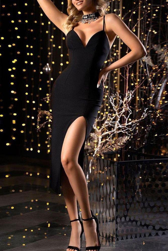 Joymanmall 2021 Summer Women Dress New Sleeveless Straped Dress High Split Sexy Black Knee-Length Party Dress