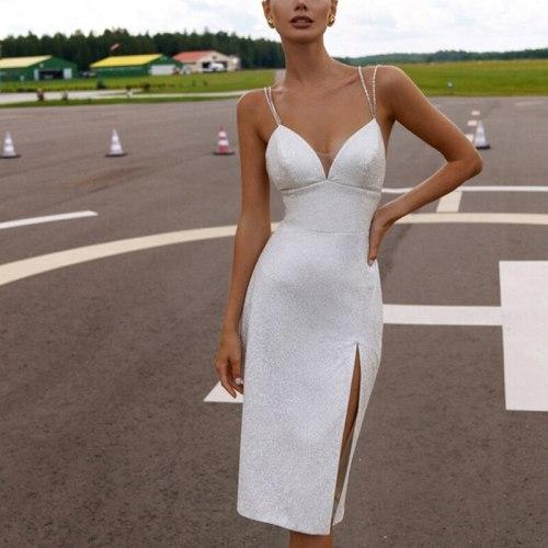 Women's Dress Deep V Sling Backless Side Split Slim Shining Fashion Sexy Midi Pary Dresses 2021 Summer