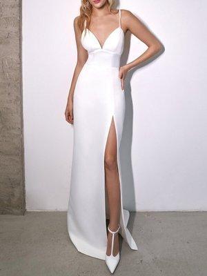 Sexy Long V-Neck Mermaid Satin Wedding Dresses with Slit Floor Length White Criss Cross Back Bridal Gowns for Women