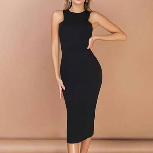 Women Elegant Summer Skinny Bodycon Dress Ladies Sexy Sleeveless O Neck Slim Fit Long Pencil Dress