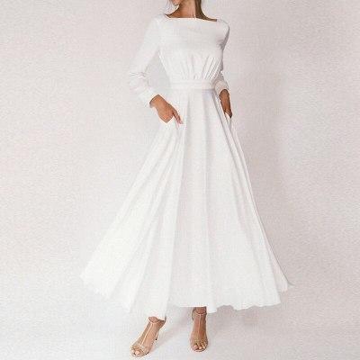 Casual UpLong Summer Dress Long Sleeve Vintage O Neck Backless Maxi Dresses Robe White Boho Beach Dress 2021 Vestidos New