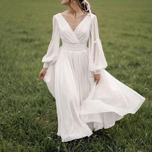 White Dresses Women Boho Elegant A-Line V-Neck Chiffon Long Sleeve Robe Sexy Dress 2021