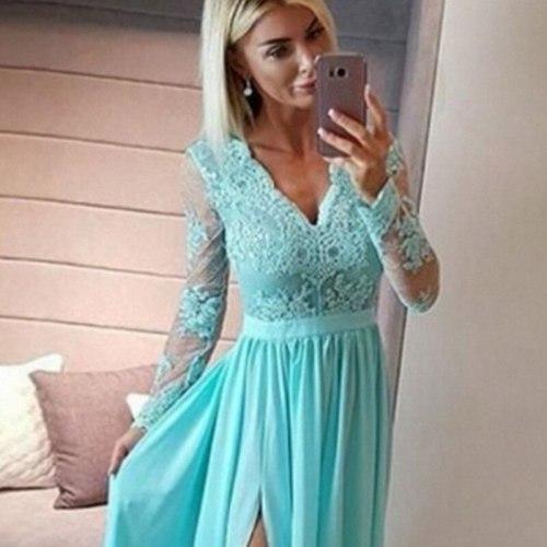 Dress Women's Casual Solid Color Embroidered Lace Stitching Dress Summer Mesh V-neck Slim High Waist Crimp Split Dress