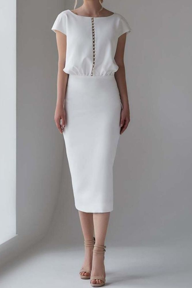 Women Fashion Elegant Formal Solid White Short Sleeve Work Overalls High Waist Tight Bodycon Night Dress