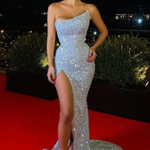 Women Dress Temperament Party Dresses Strapless Sequined Sexy Dress High Waist Split Maxi Dresses Summer 2021 Fashion New
