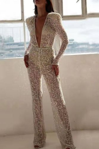 Women Elegant Hollow Out Sequins Jumpsuit Ladies Sexy Long Sleeve V Neck Straight Romper Mesh Overalls