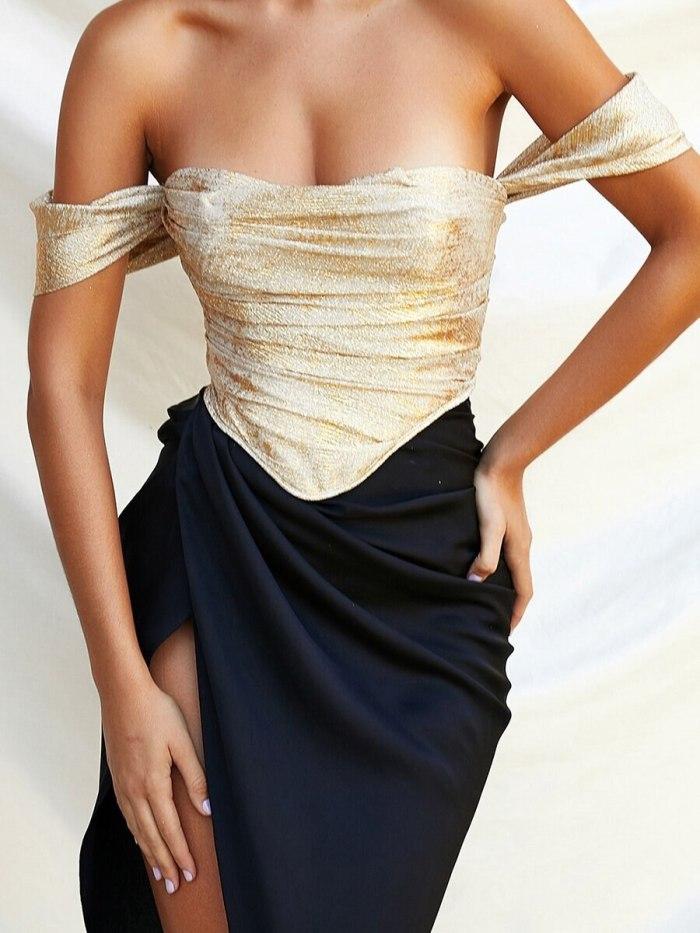 Dress Summer Sexy Solid Color Slim Fit Pleated Dress Women's Strapless Spaghetti Strap High Waist Slit Irregular Dress