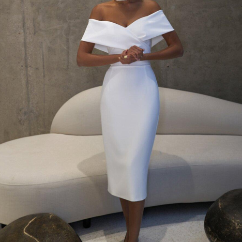 Off the Shoulder Sheath Short Wedding Dress 2021 Fit Bride's Informal Outdoor Wedding Gown Reception Dress