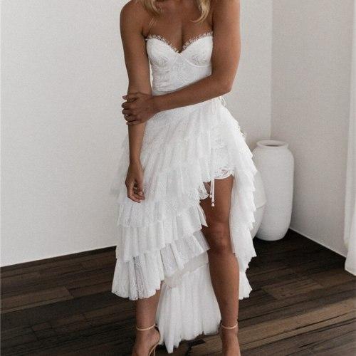 Plus Size Sexy Women Dress 2021 Summer Patchwork Ruffles Irregular Spaghetti Straps Party Dress