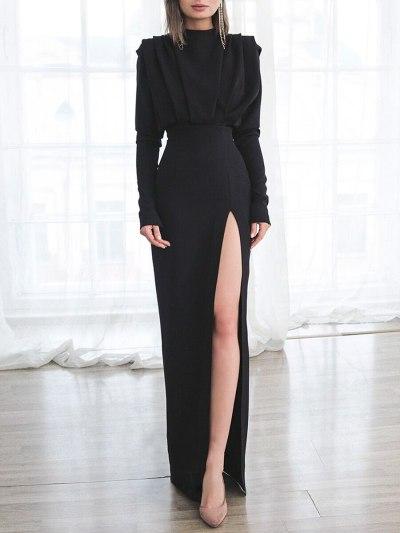 Women Dress Temperament Party Dresses Stand Collar Split Maxi Dresses Long Sleeve High Waist Sexy Plus Size Dress 2021