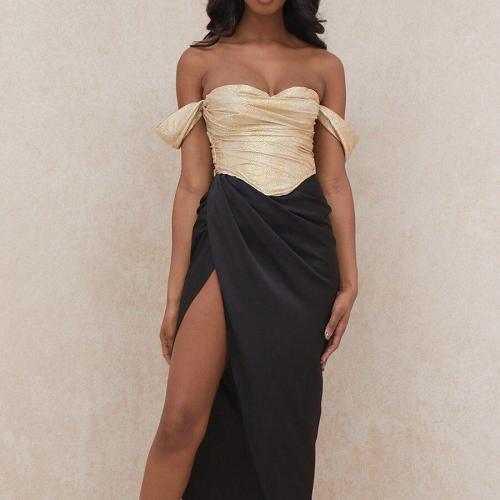 Solid Color Slim Fit Dress Summer Sexy Pleated Dress Women's Strapless Spaghetti Strap High Waist Slit Irregular Dress