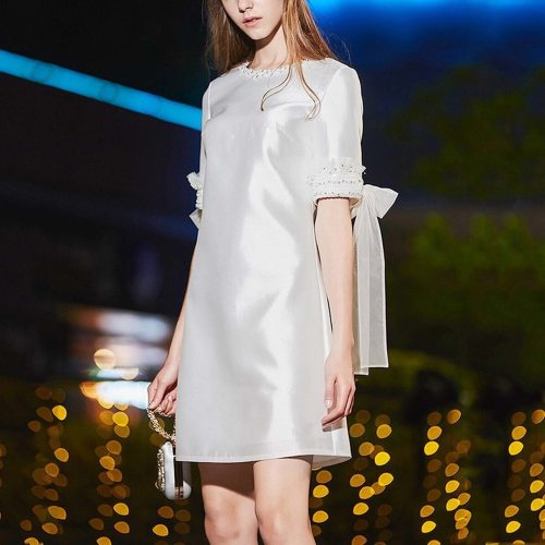 Women Lace Short Sleeve Dress Fashion Solid Sexy Lace-up Dector Mini Clubwear Summer O Neck A-line Party Dress