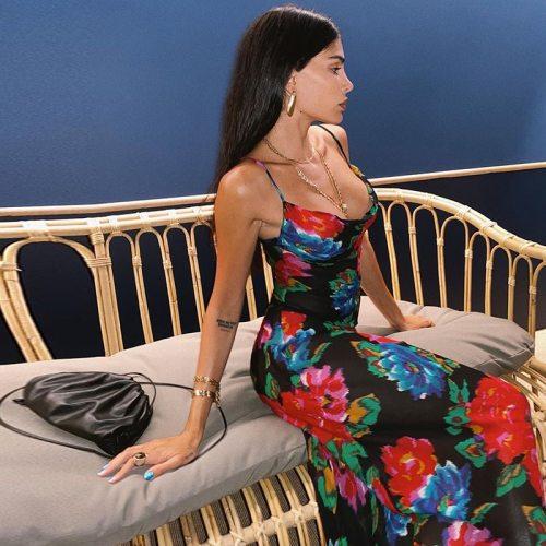 Floral Maxi Dress Women Cowl Neck Spaghetti Strap Backless Print Beach Dresses Woman Party Night Sexy Long Dress Black