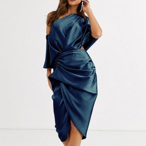Dress Summer Solid Color Slim Pleated Irregular Dress Women's Sexy One Shoulder Off Shoulder Short Sleeve Split Dress