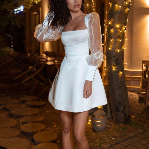 Sexy Dress Women Long Sleeve Party Mesh Square Collar Gauze Solid Slim Elegant Dresses Ladies Big Swing Mini Dress Lugentolo