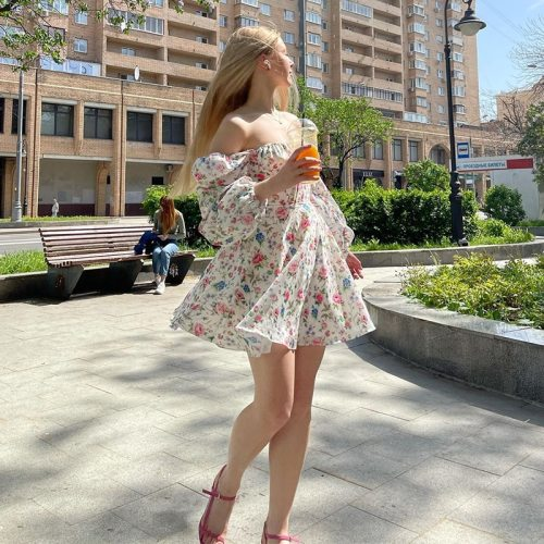 Floral Dress Women Lantern Long Sleeve Ruched Print A Line Square Neck Tie up Mini Vestidos Sexy Chic Summer Beach Dress