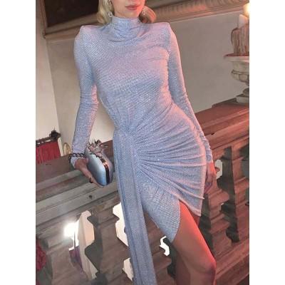 Sequin Dress Women Party Night Glitter Long Sleeve Blue White Silver Half High Collar Asymmetry Slim Mini Dress Fashion Clothing