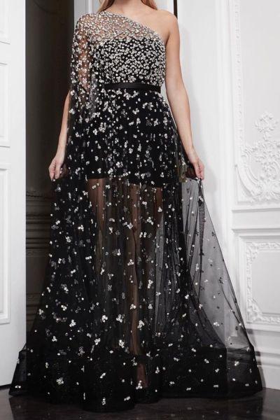 Sequin Dress Summer Sexy See-through Dress Women's Elegant One-Shoulder High Waist Backless Dress