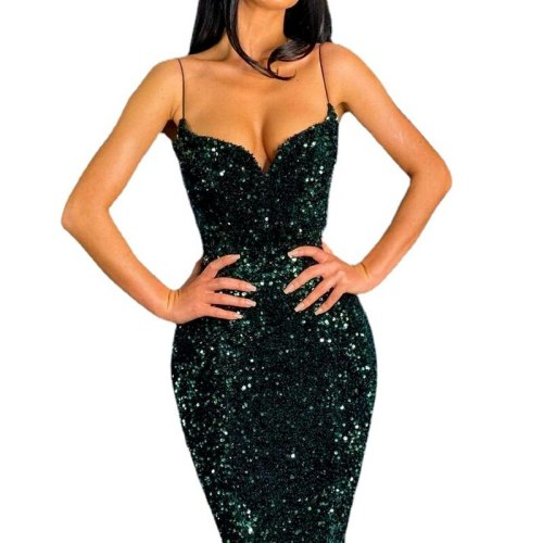Sexy Women Dress Long Formal Green Sequin Sequined Dress Spaghetti Strap Evening Party Tight Dress Plus Size