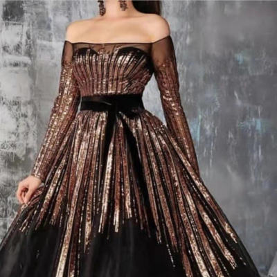 Fashion Glitter Sequined Long Sleeve Sexy One-shoulder Evening Party Dress Women Gown Elegant Robe Dinner Dress Vestidos 2021