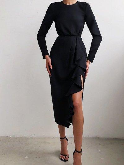 2021 Autumn women's round neck bag hip slit short skirt dress new irregular ruffled fishtail dress