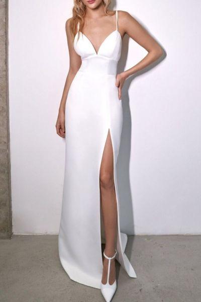 Slim V-neck High Waist Dress Summer Solid Color Sleeveless Split Dress Women's Casual Backless Spaghetti Strap Dress