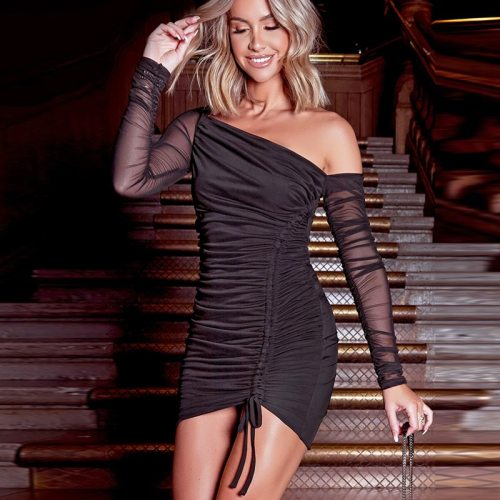 See Through Dress Mesh One Shoulder Ruched Robe Drawstring Lining Elastic Mini Summer Dress Woman Casual Bodycon Dresses