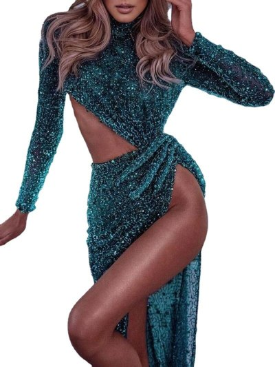 Women Fashion Long Dress Sexy Elegant High Split Fork Vestidos Feminino Club Party Night Fashion Long Mopping Dress Summer 2021