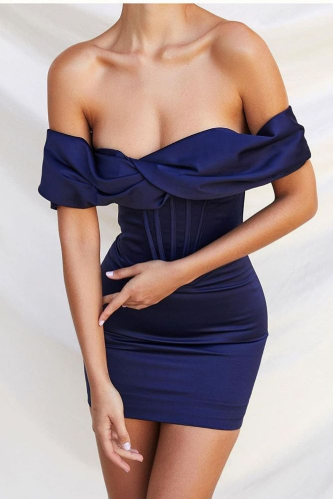 Woman Summer Dress Off Shoulder 2 Layers Stretch Boning Pads Mini Dress Lady Sexy Bodycon Casual Party Wear Elegant Robe