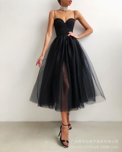 Women Dress Party Cocktail Party Sexy Strap Flower Basic Style Versatile Elegant Graceful Pettiskirt Gauzy Gown