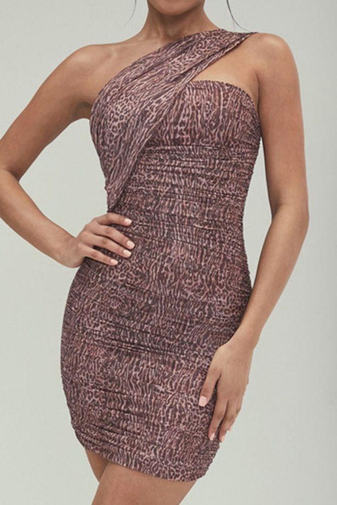 One Shoulder Leopard Print Ruched Mesh Mini Dress Women Asymmetric Diagonal Collar Hollow Out Party Sexy Bodycon Dresses
