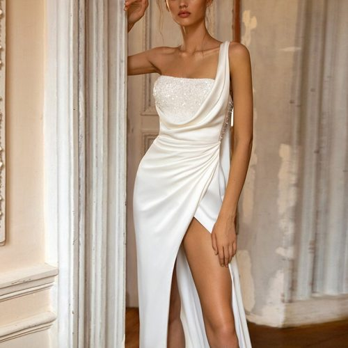 Maxi Long Party Dress Women White Sexy One Shoulder Sleeveless Sequined Split Fork Slim Fashion Womens Maxi Dress