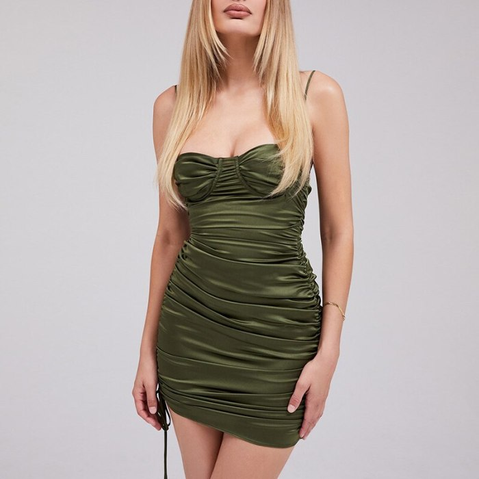Green Satin Dress Ruched Mini Spaghetti Strap Lace up Padded Underwire Drawstring Bodycon Summer Dress for Women 2021