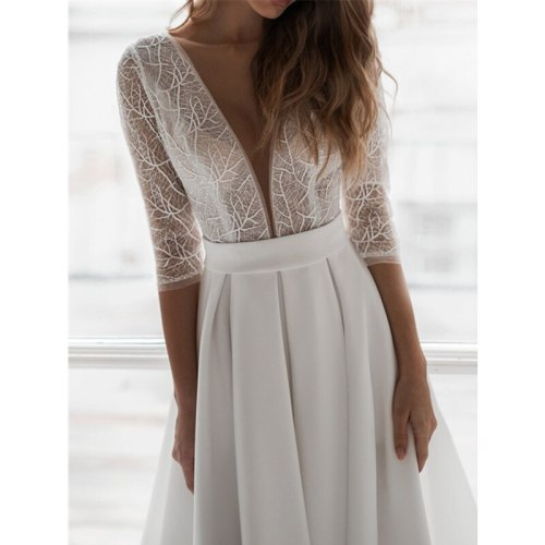 Women Elegant Lace Hollow Out Evening Dress Ladies Sexy Summer Half Sleeve V Neck Backless Long Dress