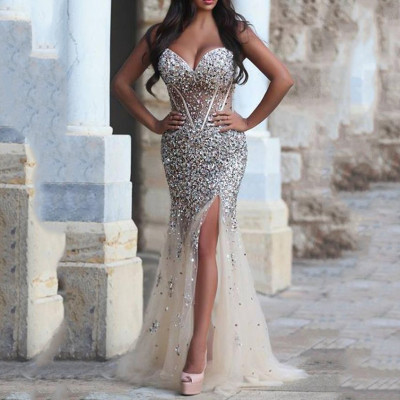 Luxury Crystal Long Prom Gown Spaghetti Straps Sweetheart Side Split Evening Dress for Wedding Party