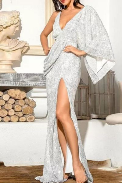 Sexy Silver V-Neck Single Sleeve Sequins Split Party Maxi Dress