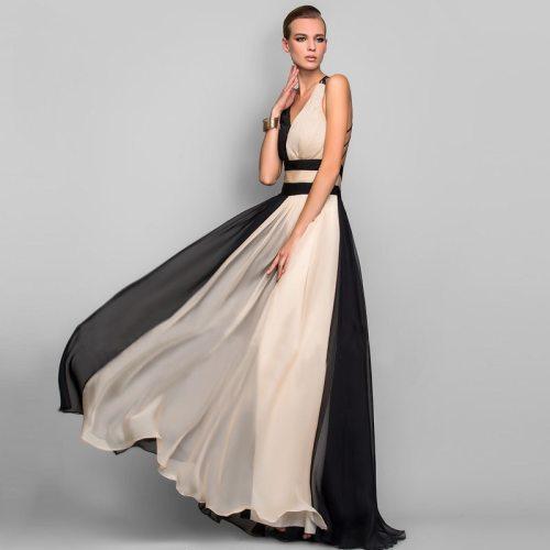 Women Dress Temperament Parchwork Party Dress V Neck Sleeveless Backless Sexy Dresses Large Hem Long Summer Dresses 2021