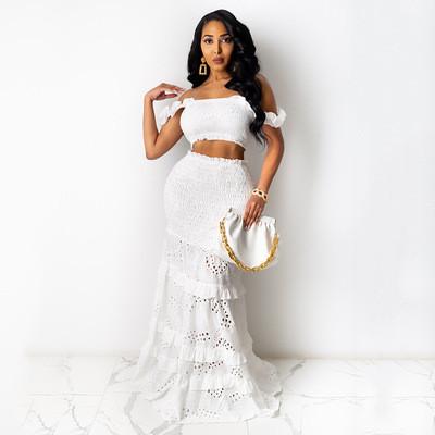 2021 Two Set White Dress Party Chic Fashion Hollow Out Dress