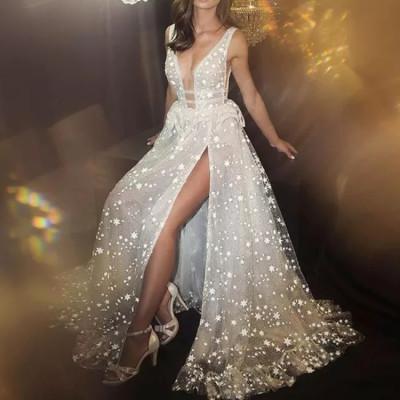 Evening Dress Sparklin whtie 2021 v-neck Mermaid long Split sexy fashion luckgirls dress