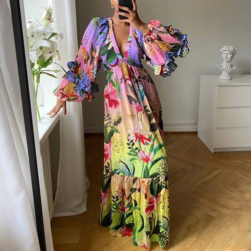Women Long Maxi Dresses 2021 Floral Print Vintage Deep V Neck Sandbeach Holiday Dress Bohemian Vestidos African Sexy Party Dress