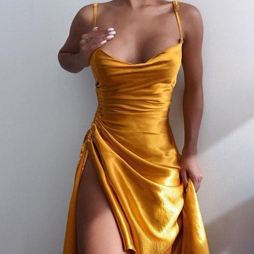 2021 Sleeveless Side Split Autumn Sexy Slim Bodycon Casual Fashion Elegant Party Dresses Female Satin Women's Dress