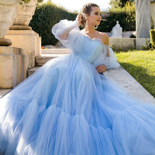 Blue Prom Dresses Long Sleeve Off the Shoulder Princess Dress 2021 Tulle Lace-up Formal Evening Party Dresses Plus Size
