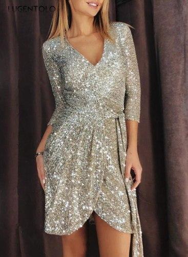 Women Dress Slim-fit Party Princess Dresses New Women's Sexy Long-sleeved V-neck Sequin Lady Mini Dress