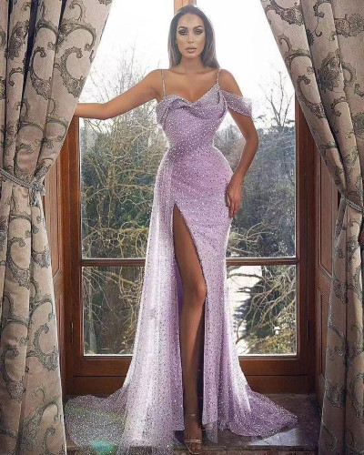 Luxury Beaded Dubai Lilac Mermaid Evening Dress 2021 Sexy Spaghetti Strap High Slit Prom Dresses for Women Wedding Party Gowns