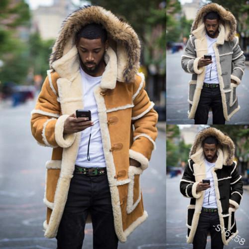 Men's Pocket Stitching Plush Hooded Coat Winter Fashion Long Sleeve Slim Fit Warm Turn-down Collar Hooded Coat