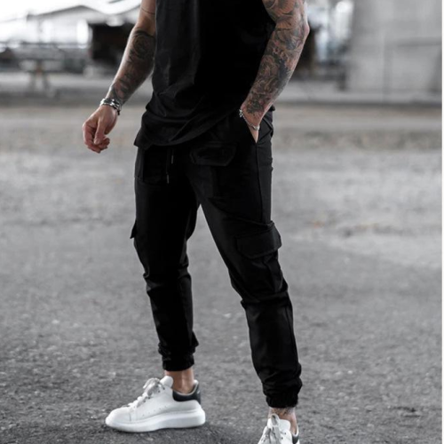 2021 new muscle brother trousers men's fall/winter sports and leisure overalls loose large size cross-border