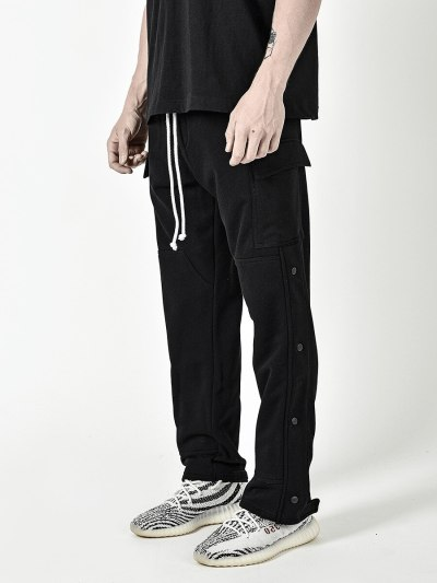 2021 Multi-pocket Men's Loose Elastic Leisure Sports European and American Fashion Cargo Only Pants Solid Color Sports Pants
