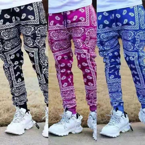 European And American Tide Spring And Autumn 3D Personality Printing Cashew Flower High Street Training Casual Men's Pants