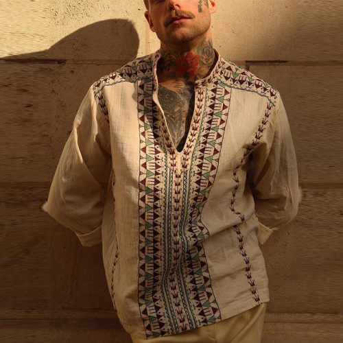 Men's Ethnic Style Printed V-neck Shirt Summer Casual Daily Loose Stitching Linen Cotton Printed Long-sleeved Shirt Men's Shirt