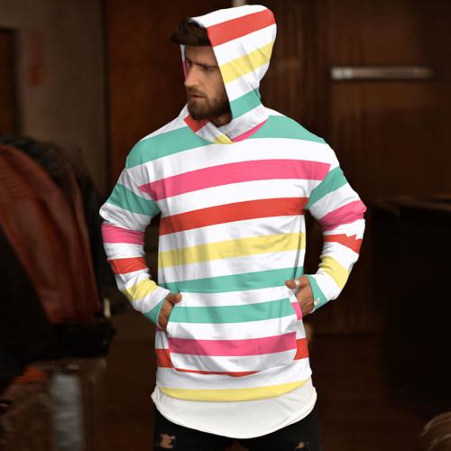 Casual Men Hoodies Stripe Autumn Man Hoodies Fashion Tops Streetwear Male Hoodies